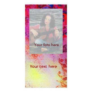 ABSTRACT GOLD SWIRLS , soft yellow pink purple Personalized Photo Card