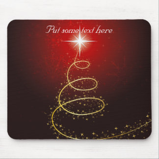 Abstract Golden Christmas Tree on Glowing Red Mousepad