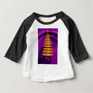 Abstract Golden Christmas Tree On Purple Baby T-Shirt