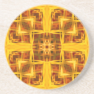 abstract golden geometric mandala pattern coaster