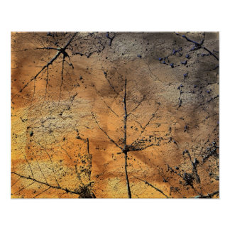Abstract Golden Leaves. Poster