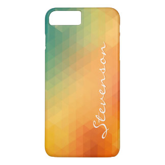 Abstract Gradient Ombre Pattern Monogram Name iPhone 7 Plus Case