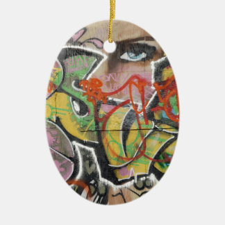 abstract graffiti art mural text type womans face ceramic oval decoration