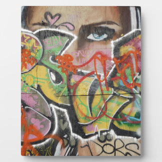 abstract graffiti art mural text type womans face display plaque