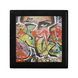 abstract graffiti art mural text type womans face gift box