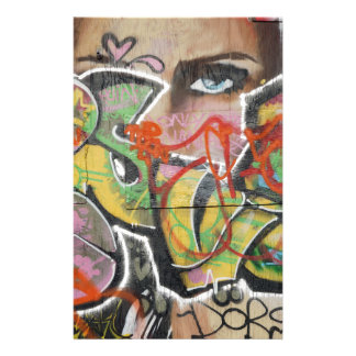 abstract graffiti art mural text type womans face stationery