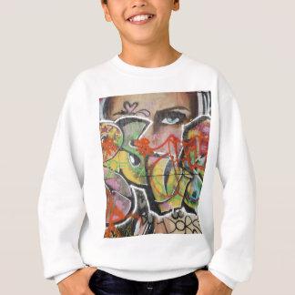 abstract graffiti art mural text type womans face sweatshirt