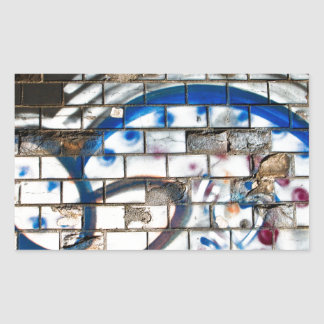 Abstract Graffiti Brick Wall Blue, Red and White Rectangular Sticker