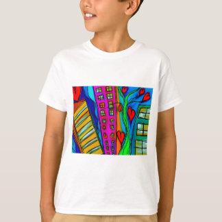 Abstract Graffiti Rainbow - City and Hearts T-Shirt