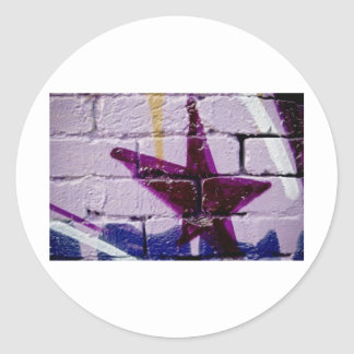 Abstract Graffiti Star on the textured wall Round Sticker