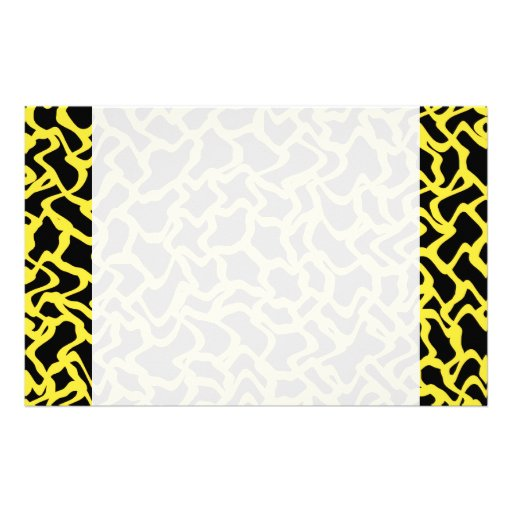 Abstract Graphic Pattern Black and Bright Yellow. Personalized Stationery