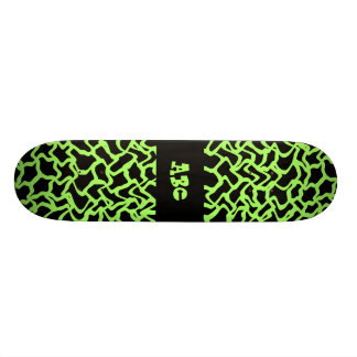 Abstract Graphic Pattern Black and Lime Green. 21.6 Cm Old School Skateboard Deck