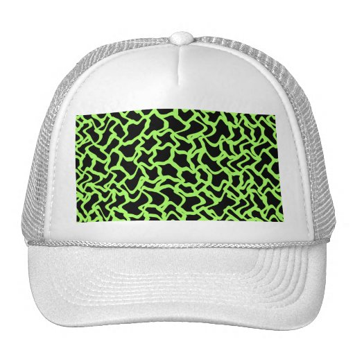 Abstract Graphic Pattern Black and Lime Green. Hats
