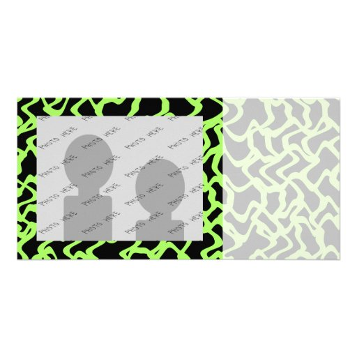 Abstract Graphic Pattern Black and Lime Green. Photo Cards