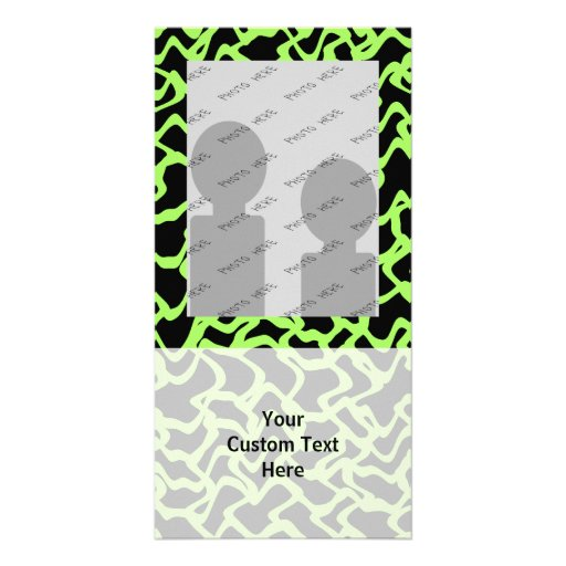 Abstract Graphic Pattern Black and Lime Green. Picture Card
