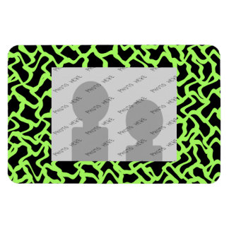 Abstract Graphic Pattern Black and Lime Green. Rectangular Photo Magnet