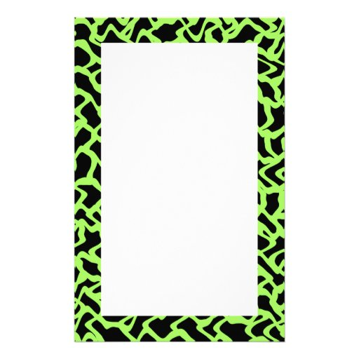 Abstract Graphic Pattern Black and Lime Green. Custom Stationery