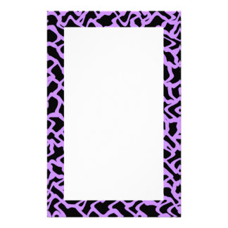 Abstract Graphic Pattern Black and Purple. Stationery Paper