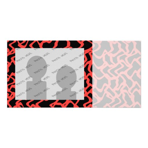 Abstract Graphic Pattern Bright Red and Black. Photo Cards