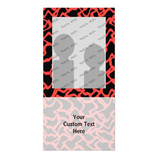 Abstract Graphic Pattern Bright Red and Black. Photo Card Template