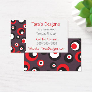 Abstract Gray and Red Dots Modern Business Cards