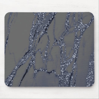 Abstract Gray Glitter Marble Graphite Blue Navy Mouse Pad