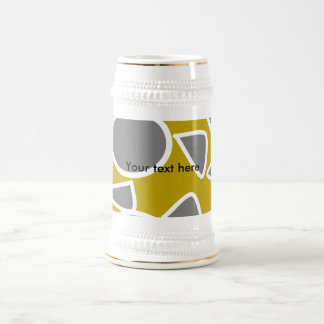Abstract gray on gold flowers beer steins