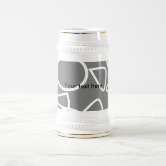 Abstract gray on gray flowers beer steins