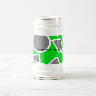 Abstract gray on green flowers beer steins