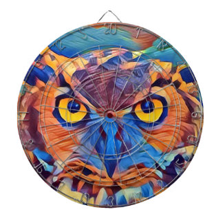 Abstract Great Horned Owl Dartboard