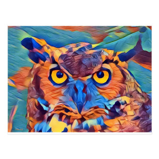 Abstract Great Horned Owl Postcard