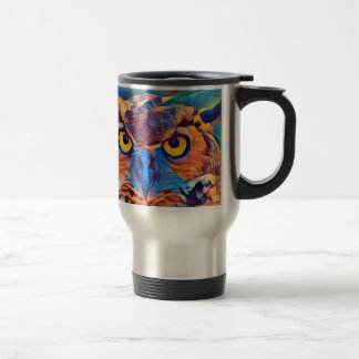 Abstract Great Horned Owl Travel Mug
