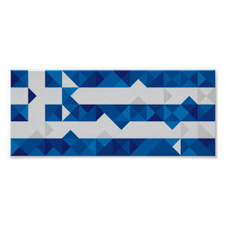 Abstract Greece Flag, Greek Artwork Poster