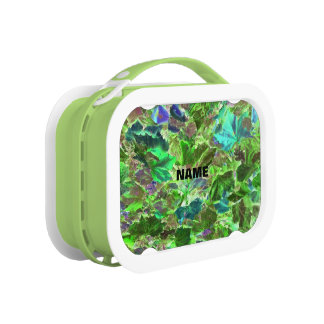 Abstract Green and Blue Leaf Pattern Lunch Box