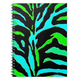 Abstract Green and Blue Zebra Print 2 Notebook