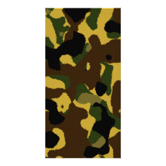 Abstract green brown yellow camouflage pattern photo cards
