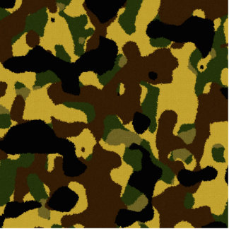 Abstract green brown yellow camouflage pattern standing photo sculpture