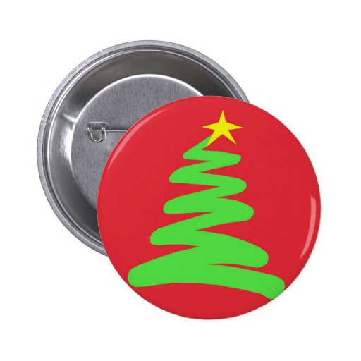 Abstract Green Christmas Tree on Red Pin