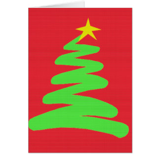 Abstract Green Christmas Tree on Red Greeting Card