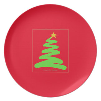 Abstract Green Christmas Tree on Red Plate
