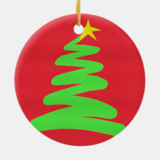 Abstract Green Christmas Tree on Red Round Ceramic Decoration