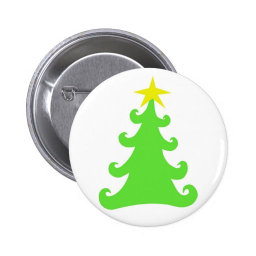 Abstract Green Christmas Tree on White Pinback Buttons