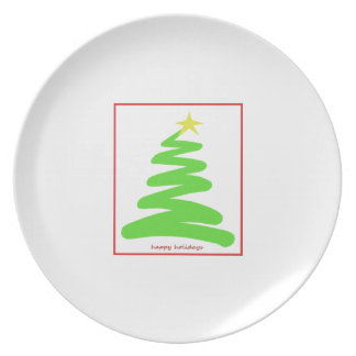 Abstract Green Christmas Tree Party Plate