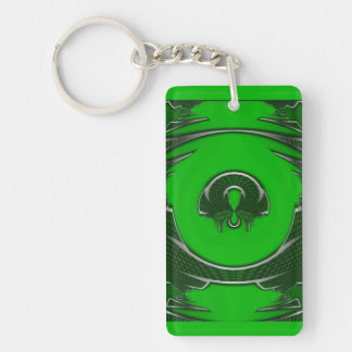 Abstract Green Emblem Double-Sided Rectangular Acrylic Key Ring