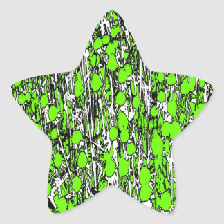 Abstract Green Flowers Star Sticker