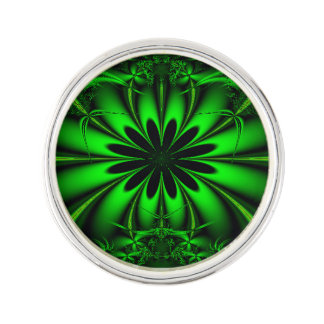 Abstract Green Fractal Jungle Lapel Pin