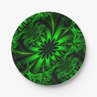 Abstract Green Fractal Jungle Paper Plate
