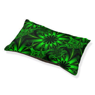 Abstract Green Fractal Jungle Pet Bed
