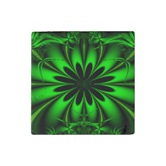 Abstract Green Fractal Jungle Stone Magnet