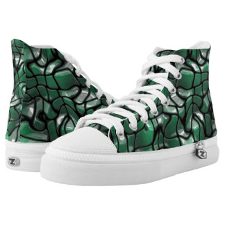 Abstract Green Gem Design Printed Shoes